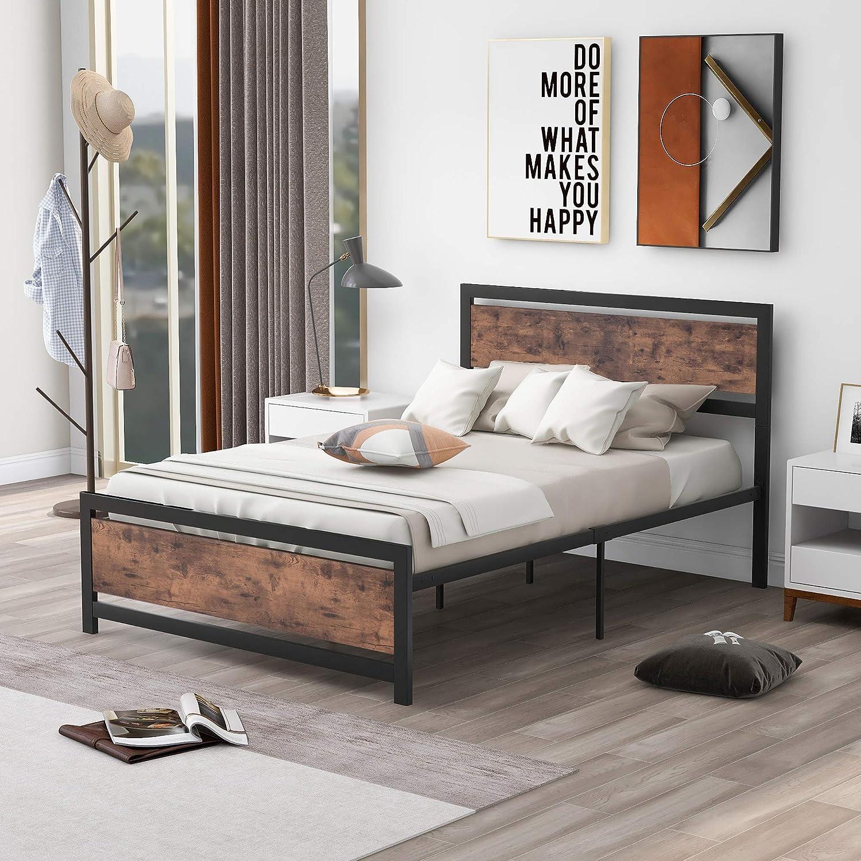ブランド買うならブランドオフ Full Size Platform Bed Polibi Metal Wood with Frame Hea 新作多数 and