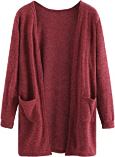 Women Plain Cardigan Lightweight Long Sleeve Fuzzy Knit Sweater with Pockets