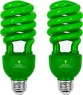 2 Pack BlueX CFL Green Light Bulb 24W - 100-Watt Equivalent - E26 Spiral Replacement Bulbs - Green Bulb Decorative Illumination - for Indoor or Outdoor - DJ, Colored Bulbs CFL, Party, Halloween Bulbs
