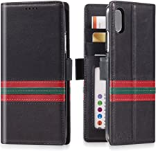 iPulse Milan for iPhone Xs Max Italian Full Grain Leather Case Handmade Flip Designer Edition Case for Apple iPhone Xs Max (2018) with Magnetic Closure - Green/Red Strip
