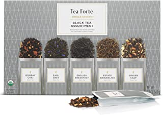 Tea Forte Organic Black Tea Sampler, Single Steeps Loose Leaf Tea Gift Box Variety Pack of 15 Single Serve Pouches with Cl...
