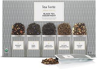 Tea Forte Single Steeps Organic Black Tea Assortment, Loose Leaf Tea Sampler Assorted Tea Variety Pack, 15 Single Serve Pouches