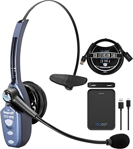 new arrival BlueParrott B250-XTS Bluetooth Headset with Micro USB Charging, Noise Cancelling Microphone for iOS and Android Bundle with wholesale Blucoil 5000mAh Portable Power lowest Bank, and 3-FT USB 2.0 Type-A Extension Cable outlet online sale