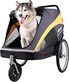 ibiyaya Large Pet Stroller for one Large or Multiple Medium Dogs with air Filled tire Suspension and Aluminum Frames, rain Cover Included