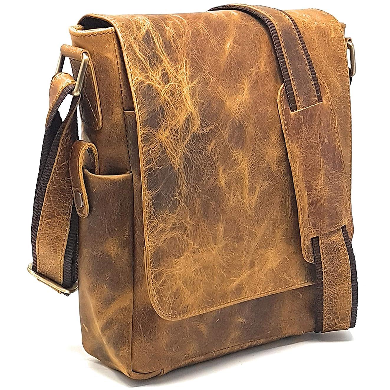 Vintage Look Leather Tablet Man Bag, Sling Bag, Crossbody Messenger Satchel (2 Rugged Tan)