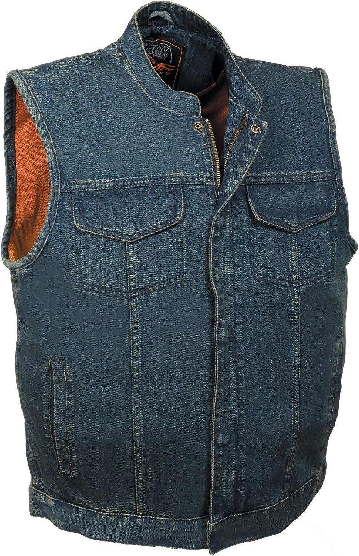 Men's Concealed Snap Denim Club Style Vest w/Hidden Zipper (Blue,)