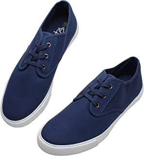 PepStep Canvas Sneakers for Men/Black/White/Navy Mens Canvas Shoes Casual Low Top Lace Up Sneakers