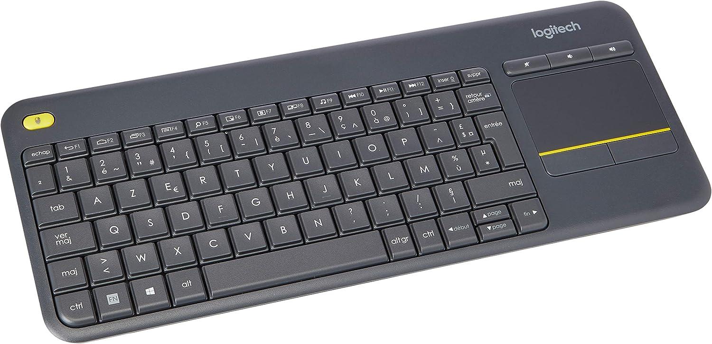 Logitech K400 Plus Teclado Inalámbrico con Touchpad para Televisores, Disposición AZERTY Francés, Negro