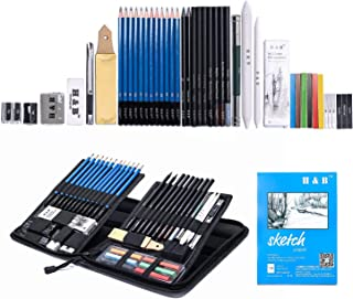 H & B Sketching Pencils Set, Drawing Pencils and Sketch Kit, 48-Piece Complete Artist Kit Includes Sketch Pad, Graphite Pencils, Pastel Stick and Eraser, Professional Sketch Pencils Set for Drawing