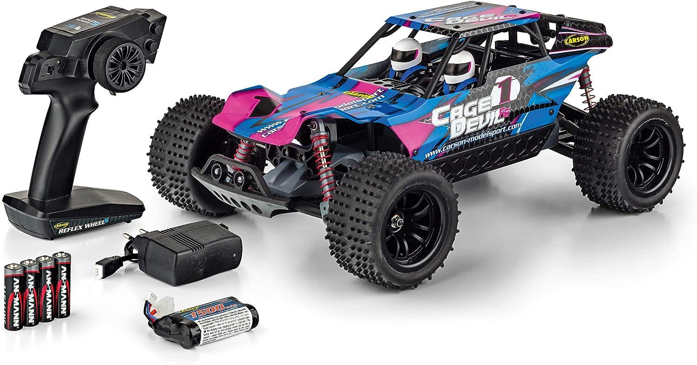 CARSON 500404141 - 1 10 Cage Devil FE 2.4GHz 100% RTR, Ferngesteuertes Auto, RC Fahrzeug,inkl. Batterien und Fernsteuerung, Fahrzeit bis zu 25 Minuten, LED-Beleuchtung vorne und hinten, voll gefedert