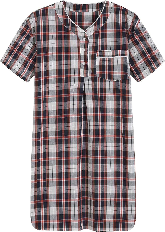 Latuza Men's Plaid New Shipping Free Nightshirt Cotton Raleigh Mall Shirt Sleep