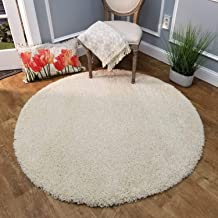 Imsid Polyester Anti Slip Shaggy Fluffy Fur Rugs and Carpet for Living Room, Bedroom (3 x 3 feet, Ivory)