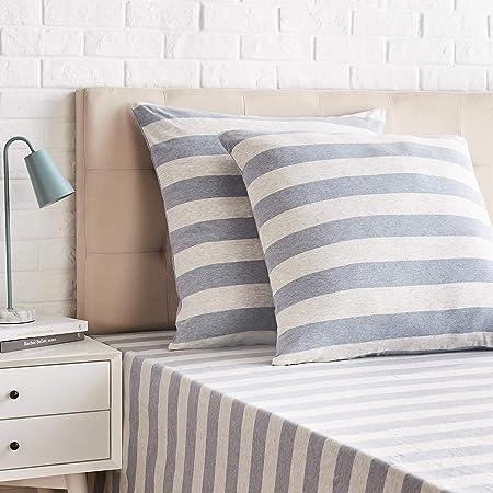 Amazon Basics-Jersey Pillowcases, Pack of 2, broad Stripes-65 x 65 cm, Light Blue