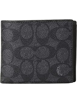 코치 반지갑 COACH Compact ID Wallet In Signature Canvas,Charcoal
