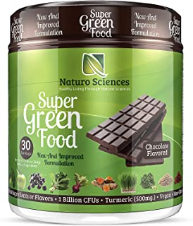 100% Natural Greens Powder, Over 10 Hard to Get Superfoods, Greens Supplement Powder 1 Month's Supply, Green Organic Blend with 1 Billion CFU Probiotics and 500mg Turmeric, Chocolate Flavor, 30 Svgs.