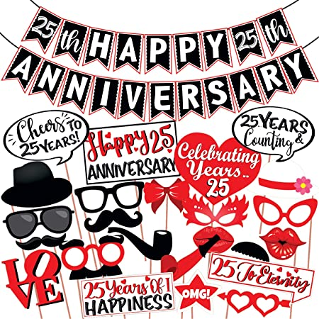 Wobbox 25th Anniversary Photo Booth Party Props DIY Kit with 25th Anniversary Bunting Banner, Red & White , Anniversary Party Decoration