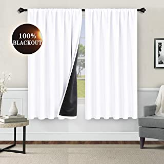 Set of 2 Curtain Panels Rod Pocket Semi Sheer Voile Curtains for Living Room and Bedroom WONTEX Faux Linen Aqua Sheer Curtains 55 x 84 inch Each Panel