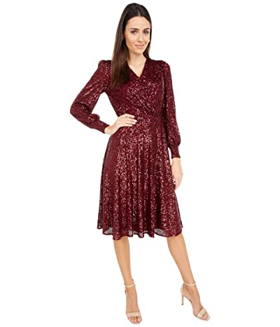 Tahari by ASL Long Sleeve Fully Sequin Dress (Bordeaux Sequin) Women