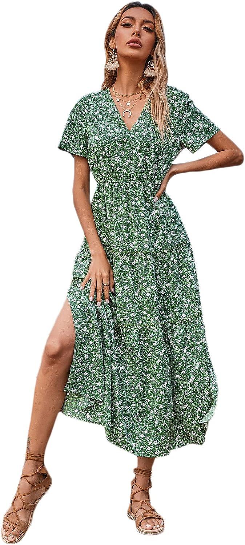 Floerns Women's All Over Print V Neck Short Sleeve Split A Line Midi Dress