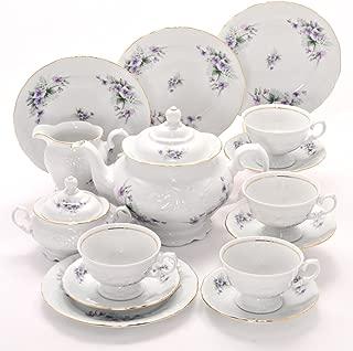 Tea With Grace Violet Fine China Tea Set for Four