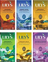 Lily's Chocolate Variety 6 Pack | Stevia Sweetened, No Added Sugar, Low- Carb, Keto Friendly | 6 Flavors, 1 Bar each | Sampler, Gift Set