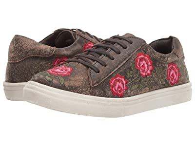 Roper Madeline (Brown Sanded Leather/Rose Embroidered Upper) Women