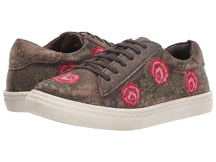 Roper  Madeline (Brown Sanded Leather/Rose Embroidered Upper) Womens Slip on  Shoes
