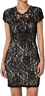 Embroidered Lace Cap Short Sleeve Bodycon Evening Little Black Dress