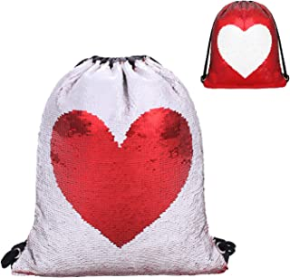 Phogary Sequin Drawstring Backpack, Dancing Reversible Mermaid Bag for Sport Outdoor Travel Beach Hiking (Red Heart)