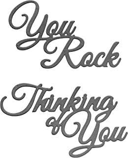 Large Sentiments Die Cut Set of 2, Word Dies, Metal Cutting Dies for Card Making, Scrapbooking, Paper Crafting – You Rock, Thinking of You - Dies by Matty's Crafting Joy