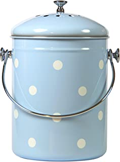 Mount Delectable Kitchen Compost Bin | Compost Bucket Blue with White Polka Dots | 1.3 Gallon 5 Liter | Stainless Steel | ...