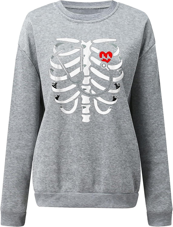 Pandaie Skeleton Print Long Sleeve Halloween for Shirts Women Ri New Free Shipping Ranking TOP14