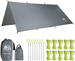 N8URE Outdoors Hammock Rainfly Tarp Premium 10x10' Ultralight Ripstop Nylon Waterproof Outdoor Tent Camping Shelter Backpack Hike Travel Bushcraft Survival Gear Includes Stakes Ropes