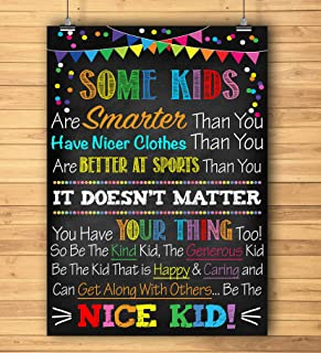 Blue Bunny Be The Nice Kid Printable Poster, Kindness Art, School Counselor Poster, Social Worker Office, Teacher Classroom Poster Decor, Anti-Bullying