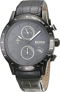 Hugo Boss Men's Chronograph Quartz Watch With Leather Strap 1513389, Black Band