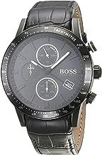 Hugo Boss Men's Chronograph Quartz Watch With Leather Strap 1513389, Black Band
