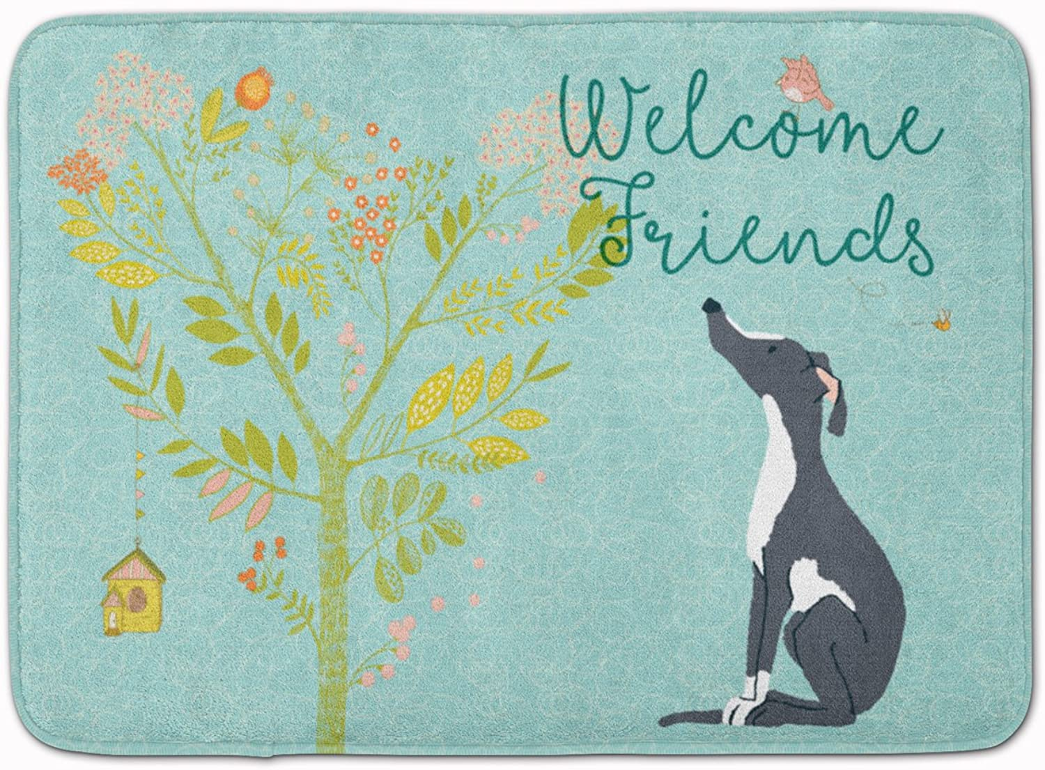 Caroline's Treasures Welcome Friends Black White Greyhound Floor Mat, 19hx27w, Multicolor