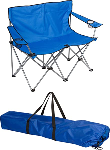 Loveseat Style Camp Chair Steel Frame Double Seater By Trademark Innovations Blue 31 5 H