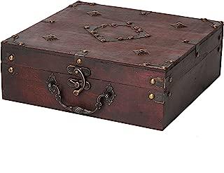 SLPR Harrison Wooden Box (Cherry)   Old Rustic Wooden Keepsake Memory Trinket Box for Scrapbooking Tea Selection Games Storage
