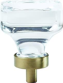 Amerock BP36653CBBZ Glacio Square Glass Cabinet and Drawer Knob, Clear/Golden Champagne
