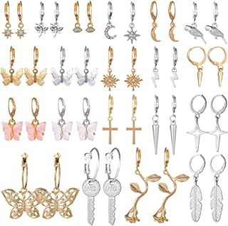 Small Hoop Earrings for Women, Funtopia 20 Pairs Mini Huggie Earrings Set with Charm, Cute Dangle Earrings for Teens Girls...