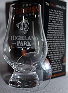 HIGHLAND PARK LOGO GLENCAIRN SINGLE MALT SCOTCH WHISKY TASTING GLASS WITH WATCH GLASS COVER