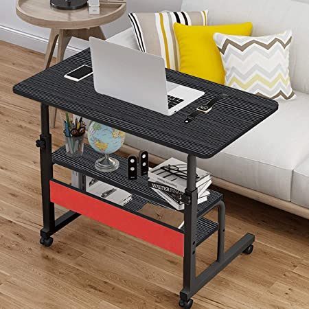 Removable Laptop Desk TV Tray for Living Room The Study Binrrio Sofa Side Table with Wheels /& Baffle Bedroom 32 LX 16 W Black Height Adjustable Rolling Coffee Snack Table