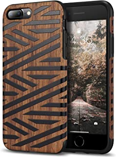 Tasikar Compatible with iPhone 7 Plus Case/iPhone 8 Plus Case Easy Grip Leather and Wood Grain Design Compatible with iPhone 7 Plus/iPhone 8 Plus (Leather & Wood)