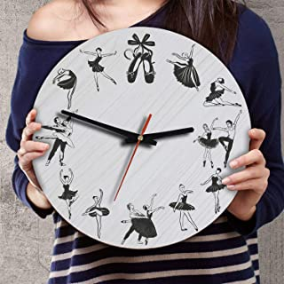 VTH Global 12 Inch Silent Battery Operated Ballet Wood Wall Clocks Ballerina Gifts for Dad Mom Dancers Lovers