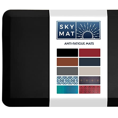 Sky Solutions Anti Fatigue Mat - Cushioned Comfort Floor Mats For Kitchen, Office & Garage - Padded Pad For Office - Non Slip Foam Cushion For Standing Desk (20x39x3/4-Inch, Black)
