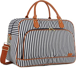 Large Canvas Travel Tote Duffel Bag Carry on Weekender Overnight Bag for Women HB-35 (Blue Striped)