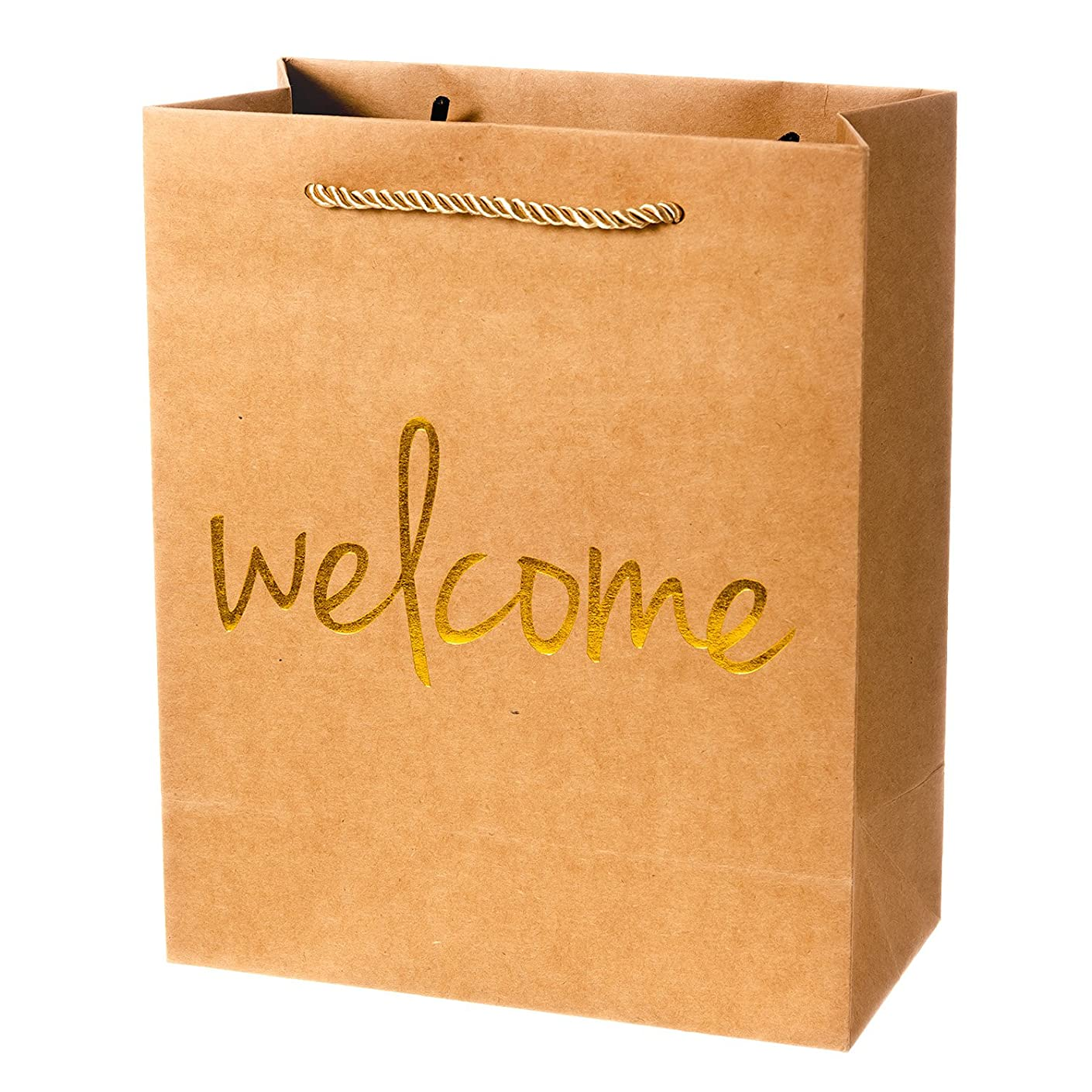 Crisky Welcome Gift Bags 25 Pcs Wedding Welcome Bags for Hotel Guests Shopping Bags Party Bags Gift Bags Retail Bags, 4x8x10 inch