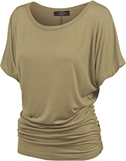 6bc1c7ae Made By Johnny Women's Solid Short Sleeve Boat Neck V Neck Dolman Top with Side  Shirring