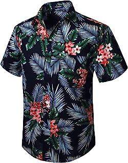 HISDERN Hombre Camisas Hawaianas Funky de Manga Corta Bolsillo Delantero Vacaciones de Verano Aloha Impreso Playa Camisa I...